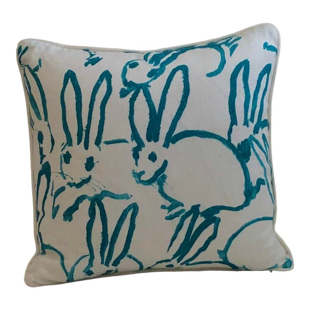 Lee Jofa Bunny Hutch Print in Turquoise Pillow Cover With Piping, Double Sided For Sale