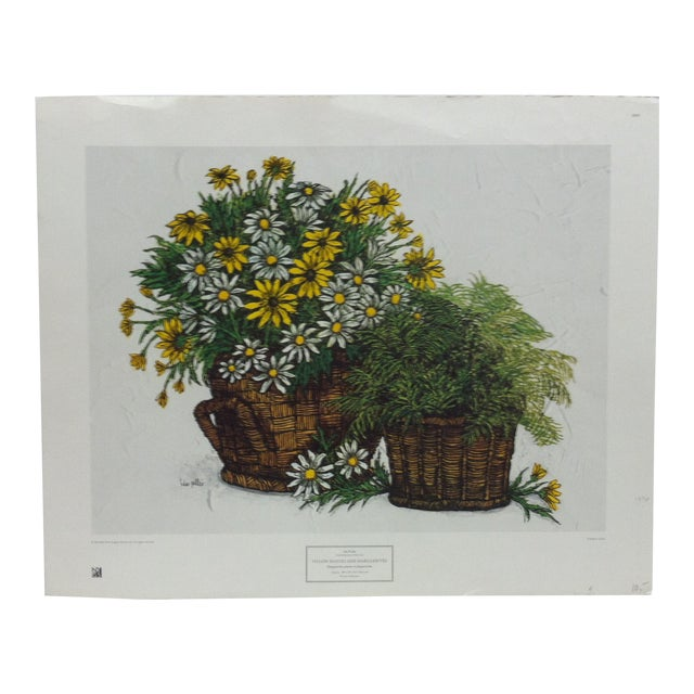 """1973 Vintage """"Yellow Daises and Marguerites"""" Ida Pellei New York Graphic Society Floral Print For Sale"""