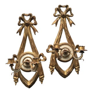 Italian Painted & Parcel Gilt Wood Sconces - a Pair