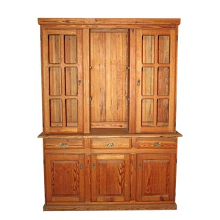 Traditional Yellow Pine 2 Pc. Hutch For Sale