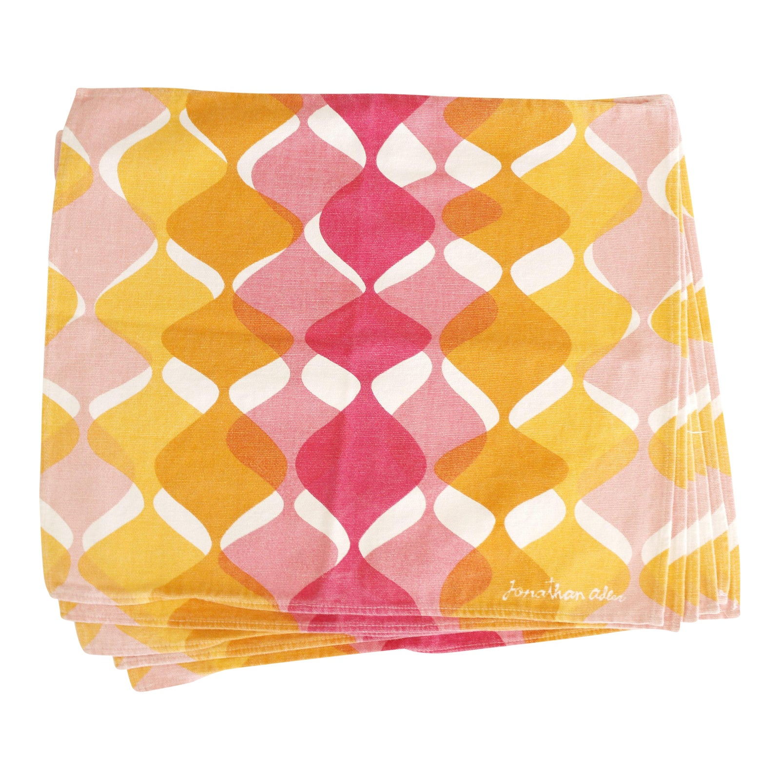 Jonathan Adler Retro Pink, Yellow & White Cotton Napkins