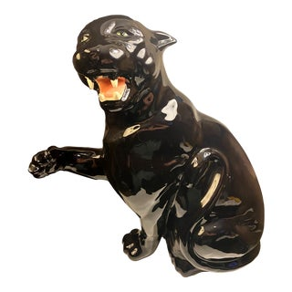 Vintage Ceramic Glazed Black Panther For Sale