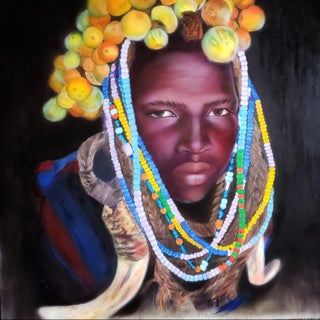 """African Colors"" Portrait Painting For Sale"