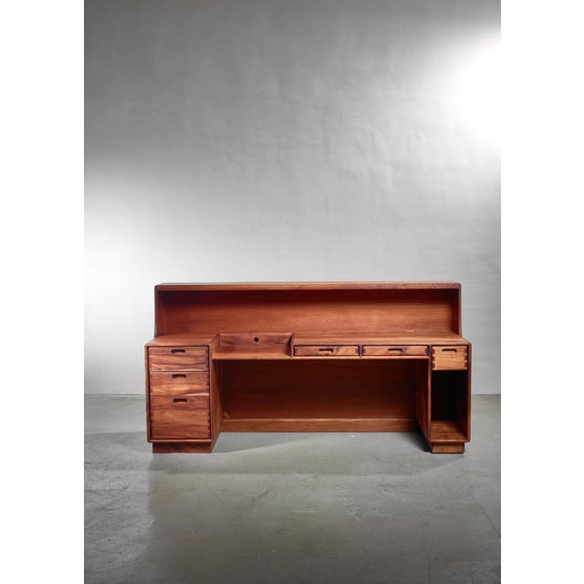 """A large working or reception desk with six drawers by California craftsman Jim Sweeney. The total height is 109.5 cm (43"""")..."""