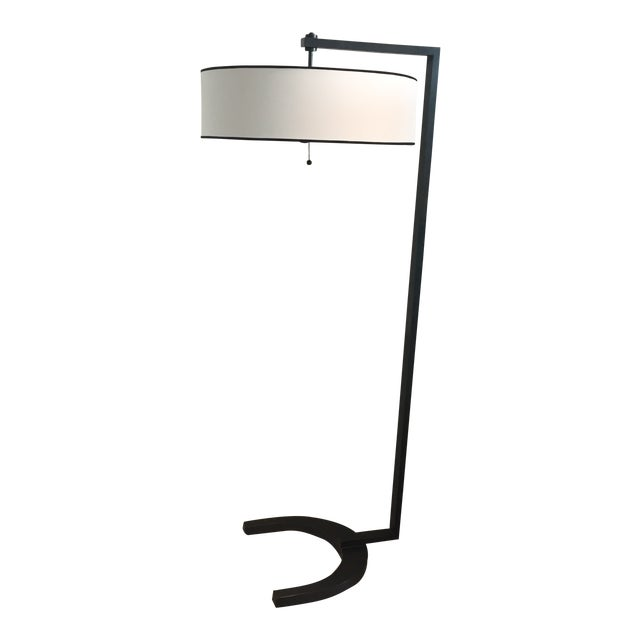 Contemporary Metal Silk Shade Floor Lamp 2 Available For Sale