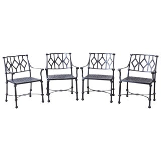 Set of Four Ebonized Cast Aluminum Garden Patio Chairs For Sale