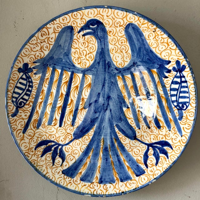 Vintage Spanish Pottery Eagle Charger For Sale In Buffalo - Image 6 of 6