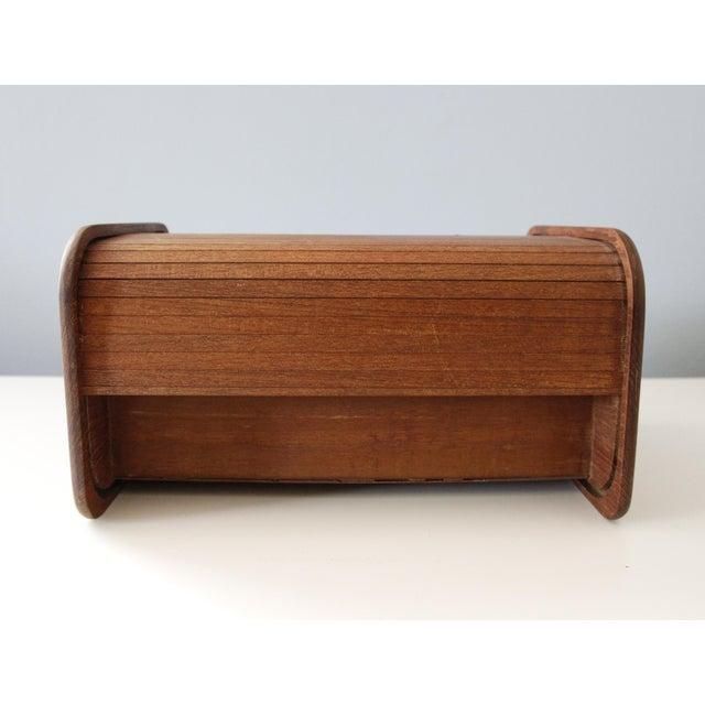Kalmar Kalmar Teak Wood Tambour Storage Box CD Organizer Danish Modern For Sale - Image 4 of 8