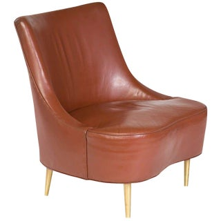 Edward Wormley for Dunbar Tear Drop Chair in Original Leather With Brass Legs For Sale