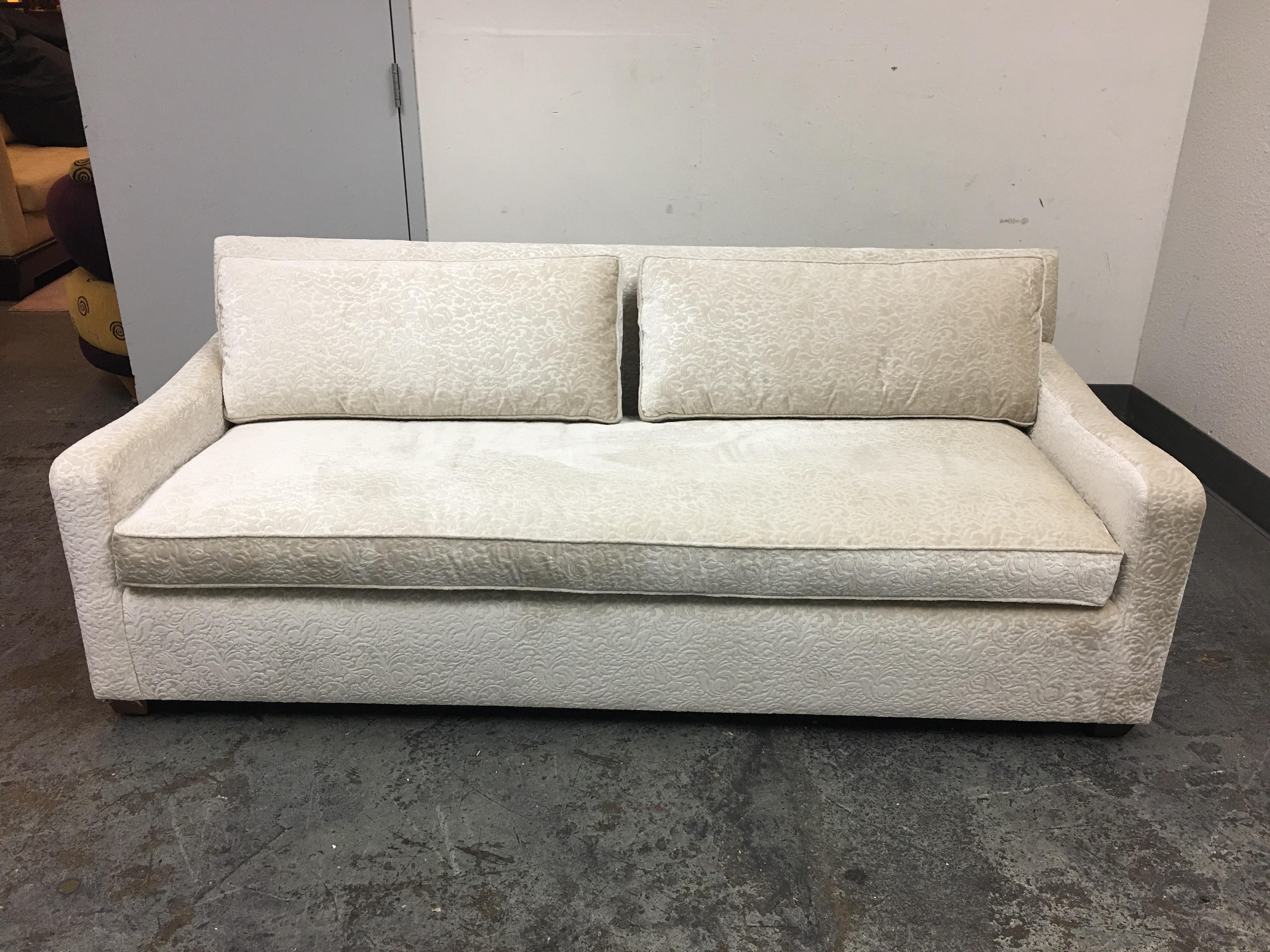 Contemporary Fitzgerald Of San Francisco Off White Velvet Sofa For Sale    Image 3 Of 11