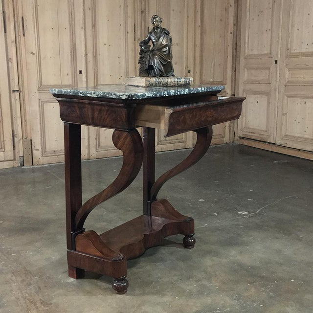 19th Century French Louis Philippe Mahogany Marble-Top Console For Sale - Image 10 of 11