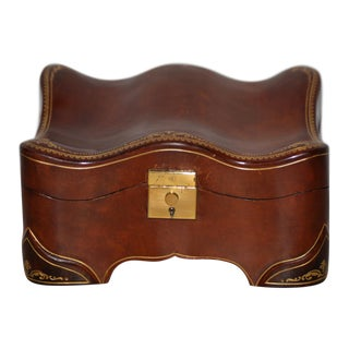 Vintage Embossed Leather Jewelry Box For Sale