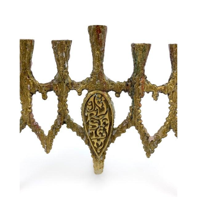Metal Vintage 1950s Brass Brutalist Hanukkah Menorah Wainberg Style For Sale - Image 7 of 8