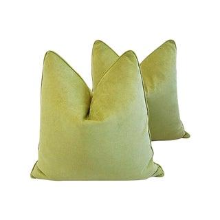 "Custom Tailored Apple Green Velvet Feather/Down Pillows 24"" Square - Pair For Sale"