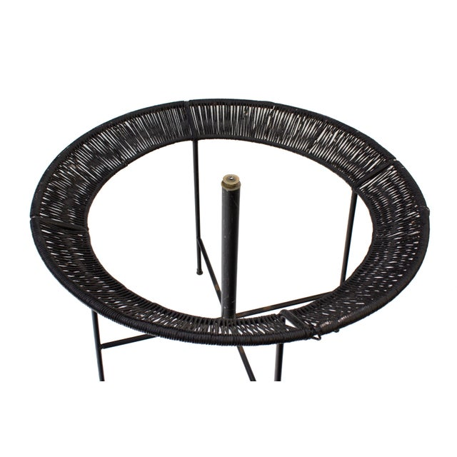 Black Round Wrought Iron and Raffia Dining Patio Table For Sale - Image 8 of 12