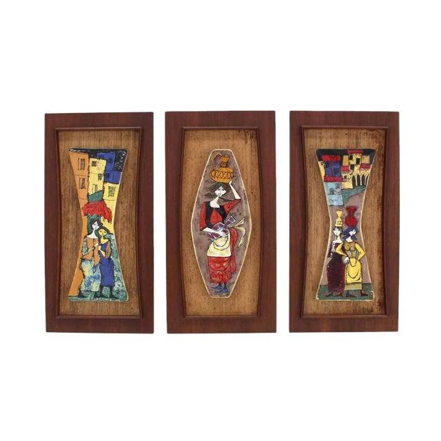 Set of Three Framed Art Tiles For Sale