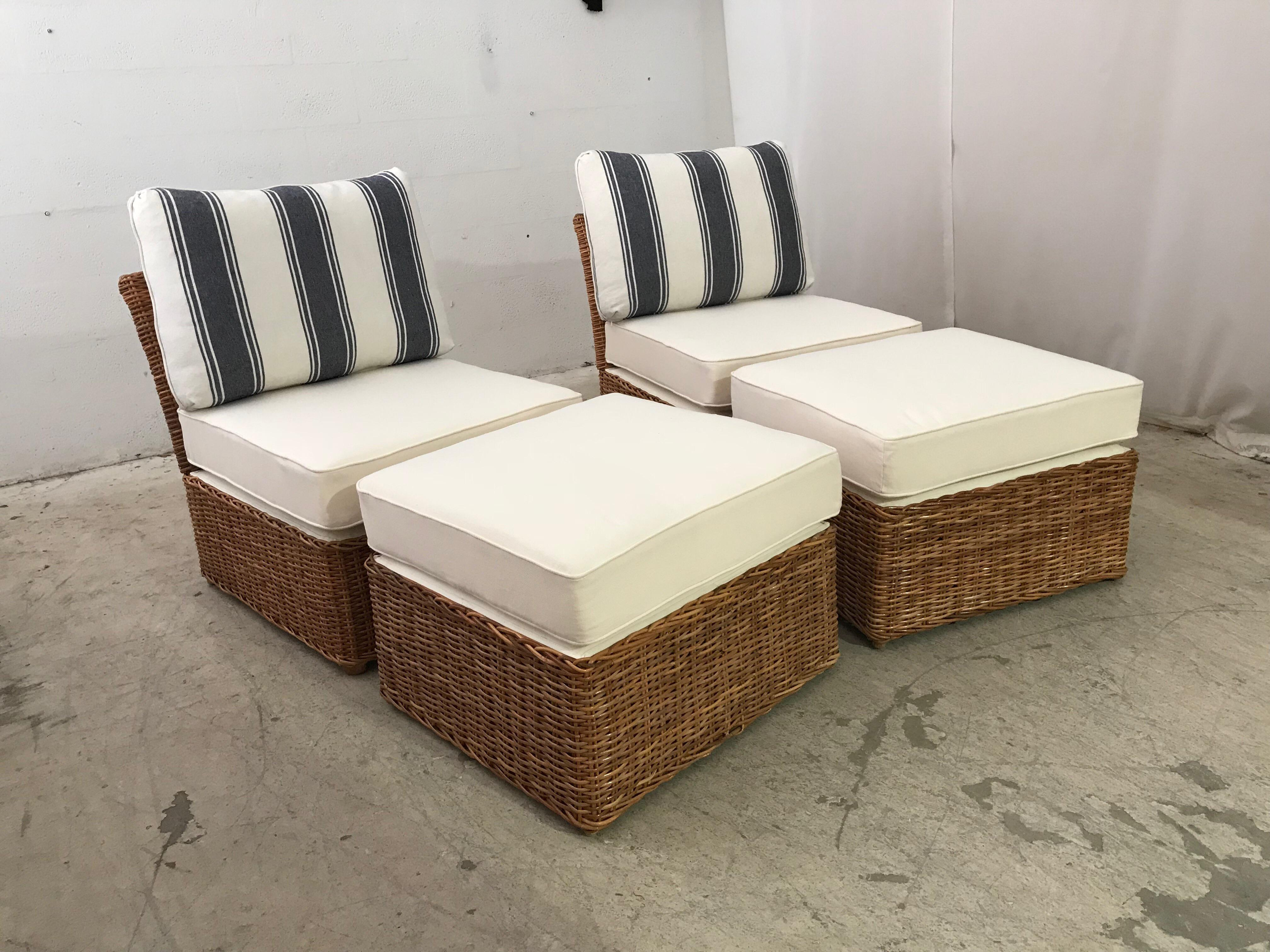 A Natural Woven Rattan Chair And Ottoman Set. All New Seat And Ottoman  Cushions Covered