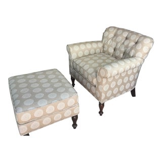 Custom Upholstered Chair & Ottoman For Sale