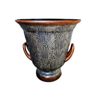 Contemporary Silver and Gold Painted Art Deco Style Stoneware Planter For Sale
