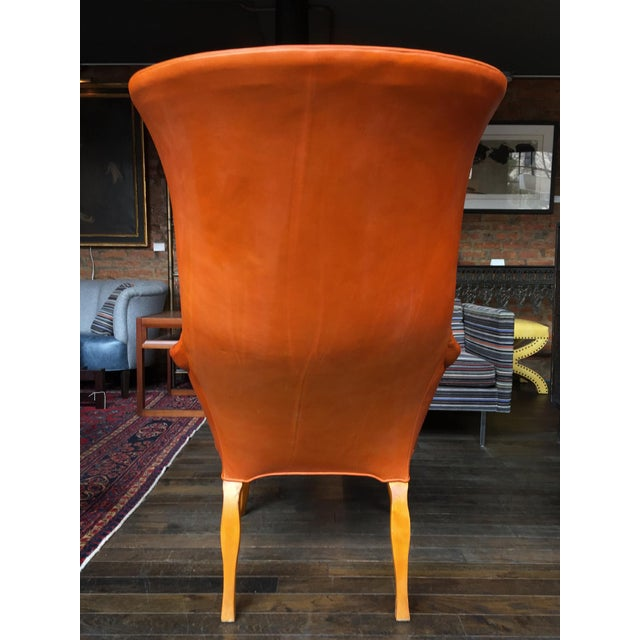 Frits Henningsen 1940s Leather Wingback Armchair Attributed to Frits Henningsen For Sale - Image 4 of 12