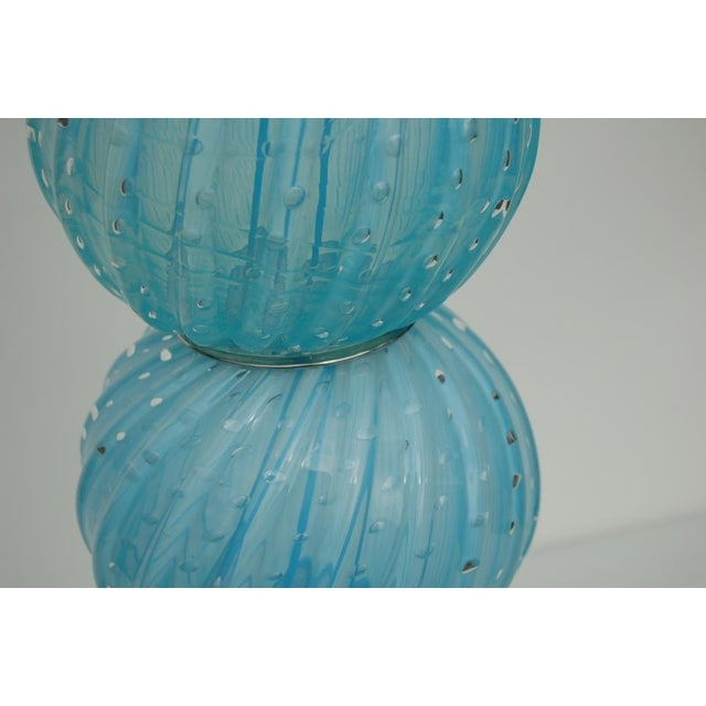 Murano Vintage Murano Glass Stacked Ball Table Lamp Blue For Sale - Image 4 of 5