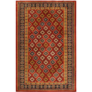 Afghan Sherwan Angila Red/Blue Hand-Knotted Wool Rug (3'5 X 5'2) For Sale