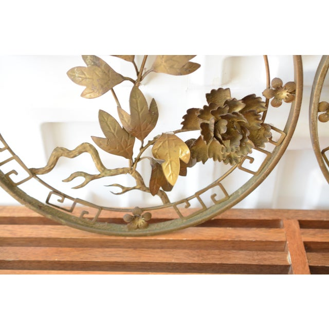 1950s Mid-Century Modern Brass 3d Floral Wall Hangings - a Pair For Sale - Image 6 of 8