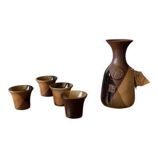 Vintage Mid-Century California Vino Pottery Craft Set - 5 Pieces For Sale
