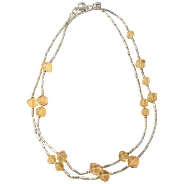 David Yurman 18k Gold Bead and Sterling Cable Citrine Station Necklace For Sale - Image 11 of 11