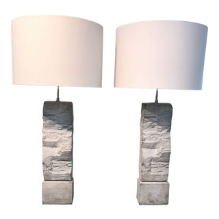 Cast Stoneware Rock Shaped Lamps- A Pair For Sale