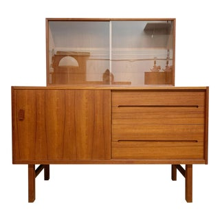 Mid Century Modern Credenza and Hutch by Nils Jonsson for Troeds For Sale