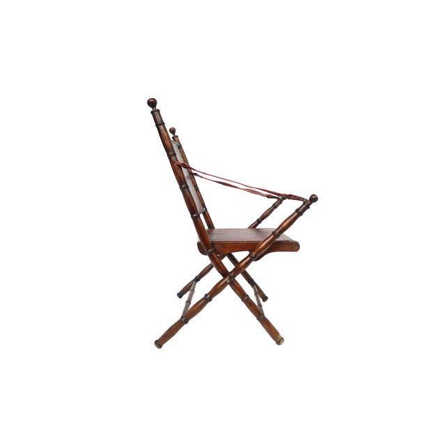 Campaign Style Leather & Ash Folding Chairs - Pair - Image 4 of 10