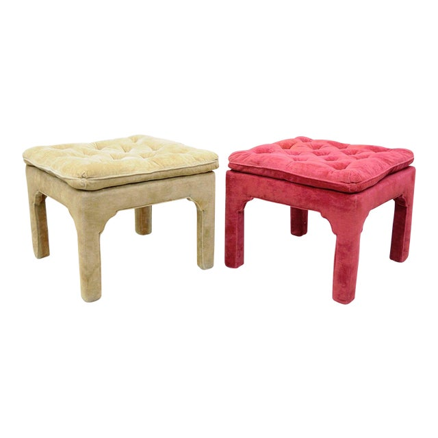 Vintage Hollywood Regency Parson Pink & Beige Stools Upholstered Bench Ottoman - a Pair - Image 1 of 11
