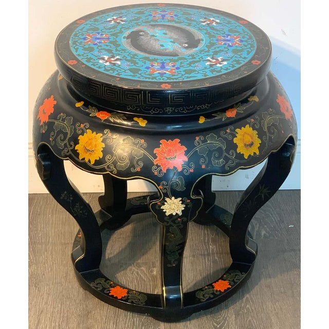 Chinese Export Black Lacquer and Cloisonné Koi Motif Table For Sale - Image 12 of 13