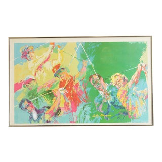 """Leroy Neiman """"The Golf Greats"""" Vintage Framed Lithograph Art Print For Sale"""