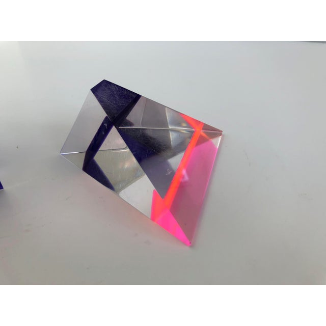 1980s Pair of 1980's Multi -Colored Acrylic 3-D Trapezoids - Signed Ashley Style of Vasa For Sale - Image 5 of 13