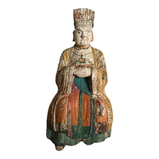 Chinese Antique Polychrome and Wood Seated Buddha Figurine For Sale
