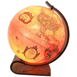 World Discover Light Up Globe With Lucite Stand, Great Britian, 1986 For Sale