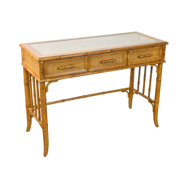 American of Martinsville Faux Bamboo & Wicker Writing Desk For Sale
