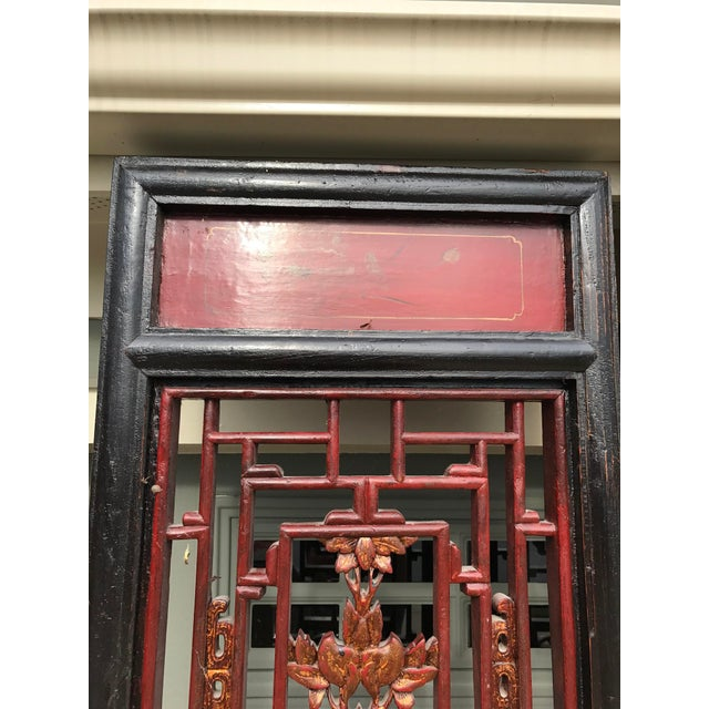 Qing Dynasty Chinese Lacquer Painted Folding Exterior Doors - Set of 4 For Sale - Image 9 of 11