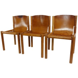 Mid-Century French Leather Sling Seat Dining Chairs - Set of 4