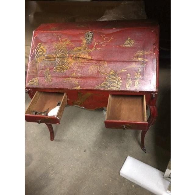 Metal Louis XV Period Gilt-Bronze Mounted Red-Lacquered Drop Front Bureau, Ca. 1750 For Sale - Image 7 of 8