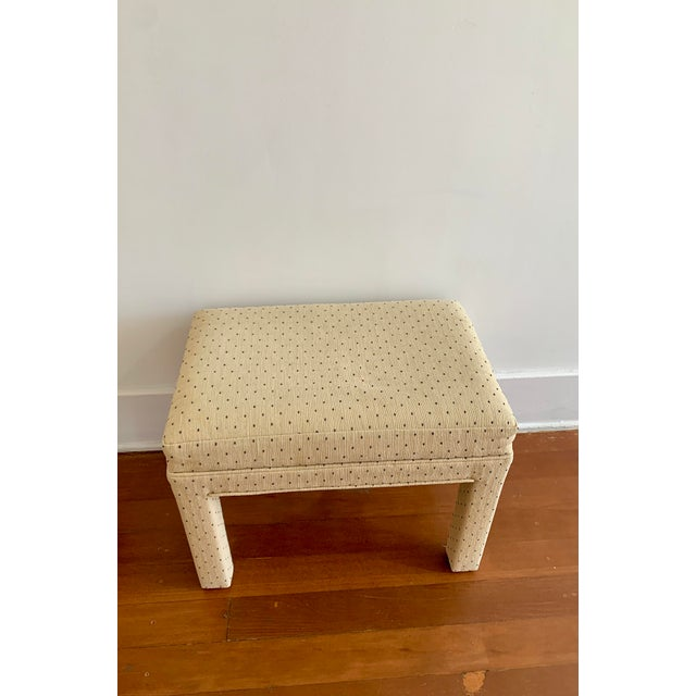 Beige Parsons Style Polka Dot Upholstered Bench - One Available For Sale - Image 8 of 10