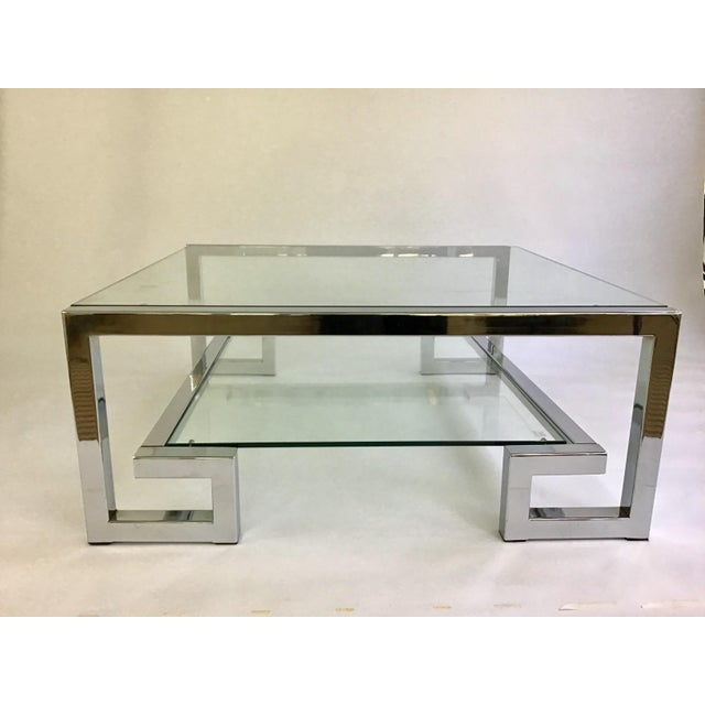 1970s 1970s Modern Chrome Greek Key Coffee Table For Sale - Image 5 of 13