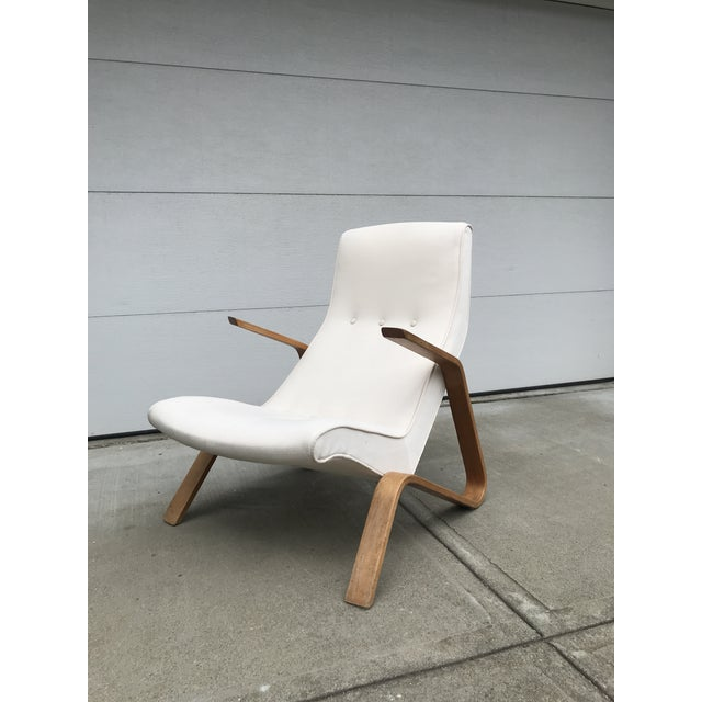 Early production re-upholstered grasshopper chair by Eero Saarinen for Knoll, one of Saarinen's most beautiful and...