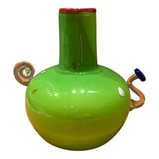 Late 20th Century Vintage Lime Green Art Glass Double Handle Artist Signed Vase For Sale