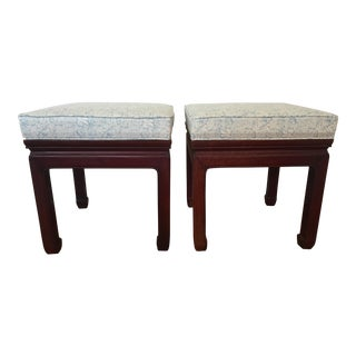 Ralph Lauren Upholstered Vintage Ming Stools - a Pair For Sale