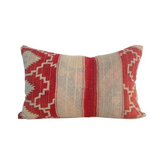 Vintage Red & Tan Block Print Kantha Quilt Pillow For Sale