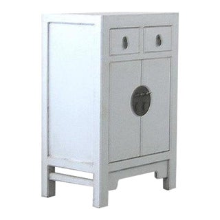 Vintage Chinese Distressed White Lacquer Bedside Cabinet/Nightstand For Sale