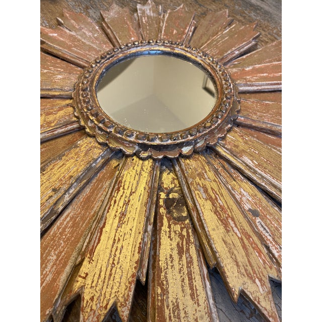Pair of Italian Sunburst Mirrors With Wood Rays For Sale In Austin - Image 6 of 12